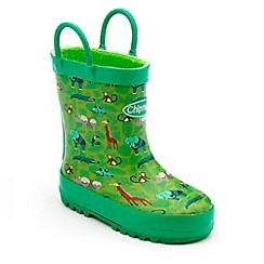 Chipmunks - Boys green safari print wellington boots