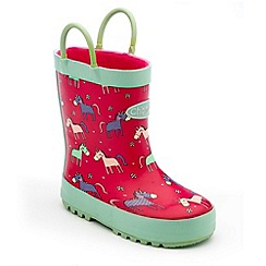 Chipmunks - Girls pink angelica print wellies