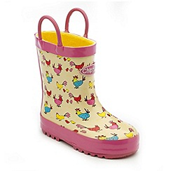 Chipmunks - Girls cream henrietta print wellington boots