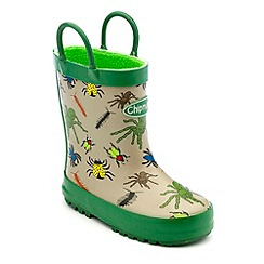 Chipmunks - Boys green/grey creepy bug print wellington boots