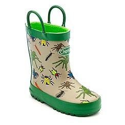 Chipmunks - Boys green/grey creepy bug print wellington boots