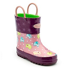 Chipmunks - Girls purple elephant print wellington boots