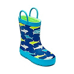 Chipmunks - Boys navy multi 'Fin' wellies