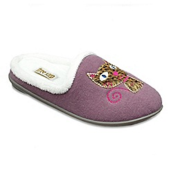 Freestep - Ladies purple 'Cat' EEE fit mule slippers