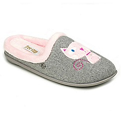 Freestep - Grey 'cat' E fit slippers