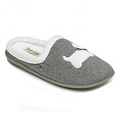 Freestep - Ladies grey 'Westie' EEE fit mule slippers