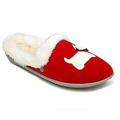Freestep - Red 'Scottie' EEE fit mule slippers