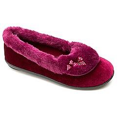 Freestep - Ladies burgundy 'Maria' slippers