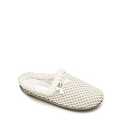 Freestep - Cream textile ladies slipper mule