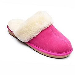 Freestep - Ladies real sheepskin slipper mule in fuchsia