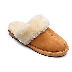 Freestep - Ladies real sheepskin slipper mule in tan