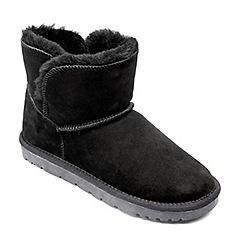 Freestep - Ladies real sheepskin ankle boot in black