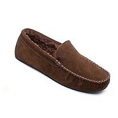 Freestep - Brown suede 'Clark' moccasin slippers