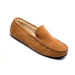 Freestep - Tan suede 'Clark' moccasin slippers