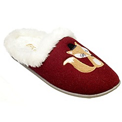 Freestep - Burgundy fox motif ladies slipper