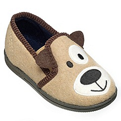 Chipmunks - Boys taupe gus the dog slipper