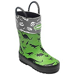 Chipmunks - Boys green dinosaur print wellies