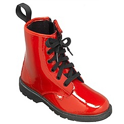 Chipmunks - Girls red patent leather ankle boot