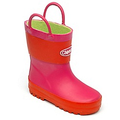Chipmunks - Girls pink and red wellingtons