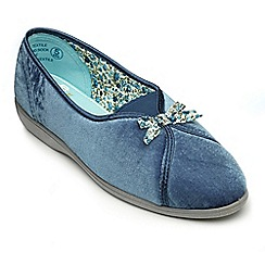 Freestep - Blue velour ladies slipper