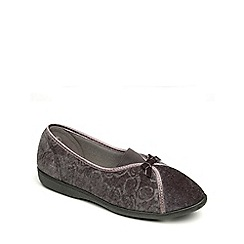 Freestep - Charcoal velour ladies slipper