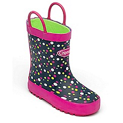 Chipmunks - Girls multi colour polka dot print wellies
