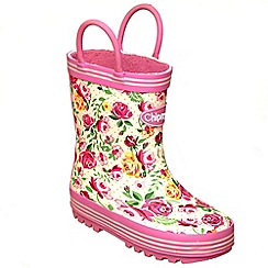 Chipmunks - Girls pink floral wellingtons