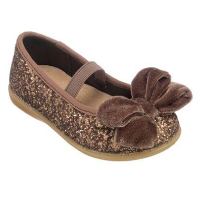 Chipmunks Girls bronze glittery party shoe - . -