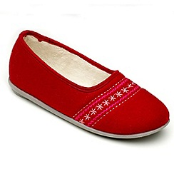 Freestep - Red felt ladies slipper