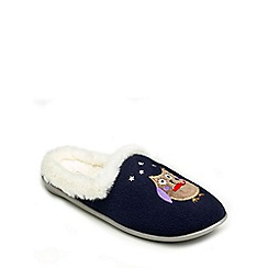 Freestep - Navy textile ladies slipper