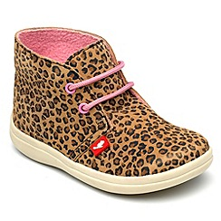 Chipmunks - Girls leopard print suede ankle boots