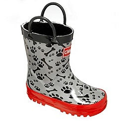 Chipmunks - Boys grey and black, paw and bone print wellingtons