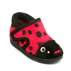 Chipmunks - Girls red black ladybird style slipper