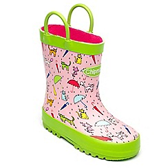 Chipmunks - Girls pink raincats wellingtons