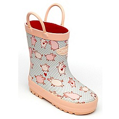 Chipmunks - Girls pig patterned wellingtons
