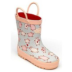 Chipmunks - Girls pig patterned wellingtons