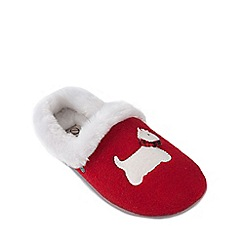 Freestep - Red scottie dog motif ladies slipper