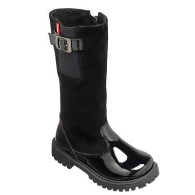 Chipmunks Girls black´ seattle´ suede and patent leather boot - . -