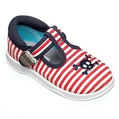 Chipmunks - Boys white and red canvas shoe
