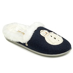Freestep - Navy snowman motif ladies slipper