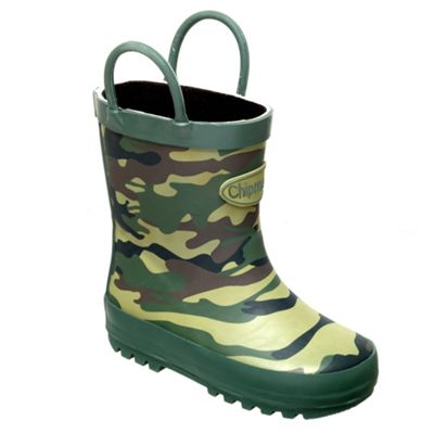 Chipmunks Boys khaki camouflage print wellingtons - . -