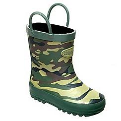 Chipmunks - Boys khaki camouflage print wellingtons
