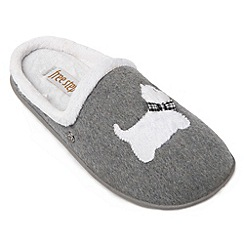 Freestep - Grey westie dog motif ladies slipper