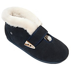 Freestep - Navy suede ladies bootie slipper