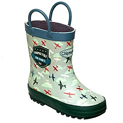 Chipmunks - Boys khaki air force print wellingtons