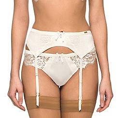 Ultimo - Ivory satin bridal suspender belt