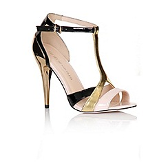 Little Mistress - Black, gold and pink multi strap stilettos