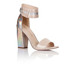 Paper Dolls - Nude holographic two strap heels