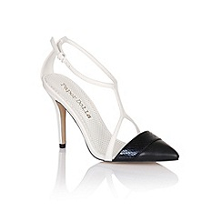 Paper Dolls - Black and white open pointed strap heels