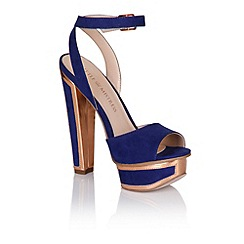 Little Mistress - Blue and gold trim heel shoes